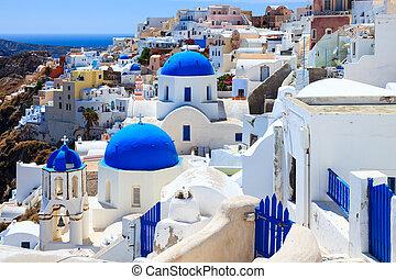 azul, iglesias, santorini, cúpula, oia
