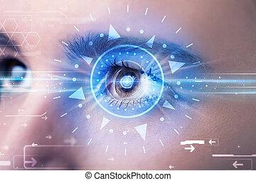 azul, iris, ojo, technolgy, cyber, mirar, niña