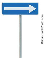 azul, la derecha de la dirección, solamente, marco, ruta, gris, roadsign, aislado, vuelta, poste, tráfico, indicador, flecha, zona lateral de camino, signage, poste, señal, blanco, icono