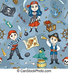 azul, lindo, piratas, seamless, patrón