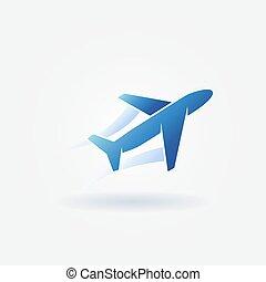 azul, logotipo, avión, vector, despegue