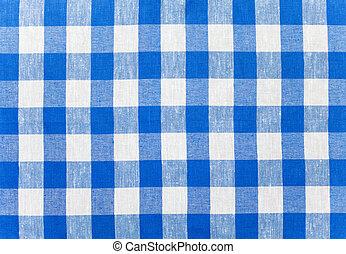azul, mantel, comprobado, tela