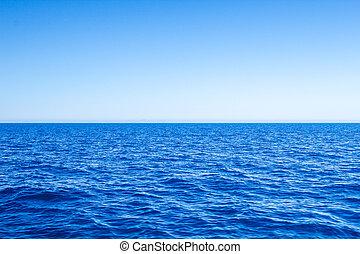 azul, mar, sky., vista marina, claro, mediterráneo, línea horizonte