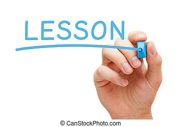 azul, marcador, lección