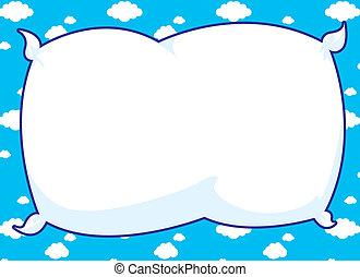 azul, marco, almohada
