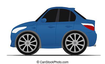 azul, mini, deporte, coche