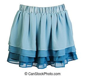 azul, mini falda, raso