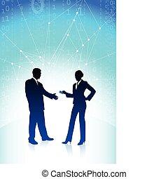 azul, mujer de negocios, hombre de negocios, plano de fondo, internet