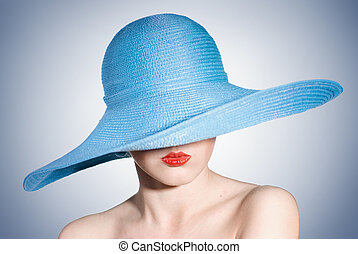 azul, mujer, elegante, atractivo, retrato, sombrero