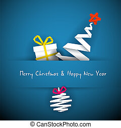 azul, navidad, simple, árbol, regalo, vector, chuchería, tarjeta