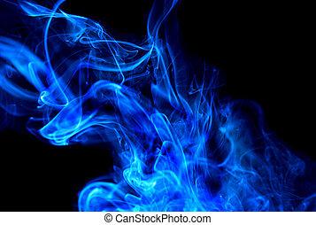 azul, nube del humo