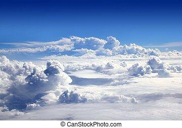 azul, nubes, cielo, alto, avión, vista