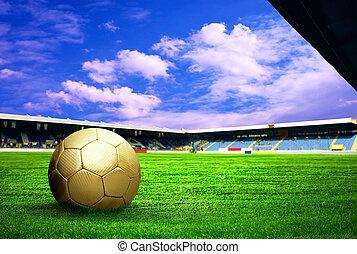azul, objetivo del fútbol, jugador, después, campo de cielo, estadio, felicidad