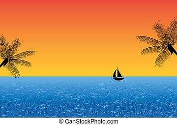 azul, océano de puesta de sol