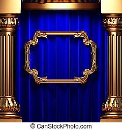 azul, oro, columnas, cortinas, marco