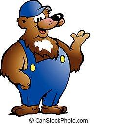 azul, overol, oso