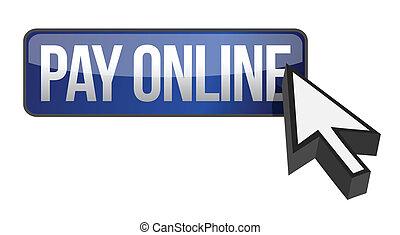 azul, paga, botón, cursor, en línea