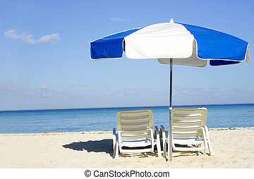 azul, paraguas blanco