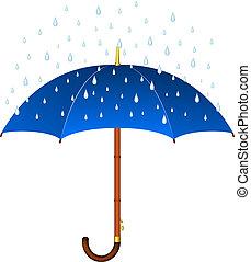 azul, paraguas, lluvia