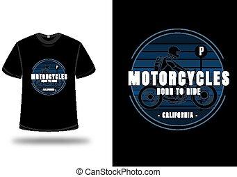 azul, paseo, motocicletas, gradiente, color, camiseta, nacido, california