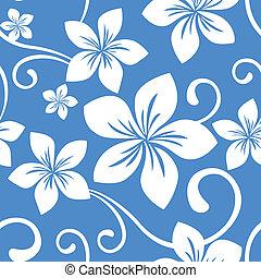 azul, patrón, seamless, hawai
