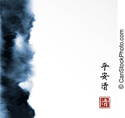 azul, paz, estilo, este, grunge, tranquilidad, lavado, resumen, contiene, -, fondo., asiático, tinta, blanco, claridad, pintura, texture., jeroglíficos