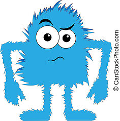 azul, peludo, trastorno, monstruo, cara