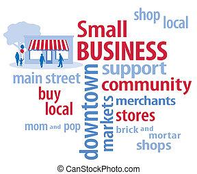azul, pequeño, rojo blanco, empresa / negocio
