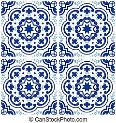 azul, portugués, añil, piso, vendimia, cerámico, azulejos, patrón, seamless, vector, plano de fondo, español, azulejo, geométrico, lisboa, diseño, azulejos