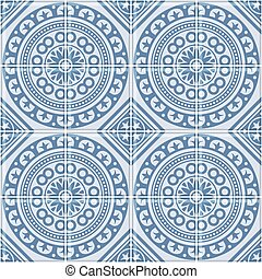 azul, portugués, pattern., seamless, vector, azulejo, azulejo