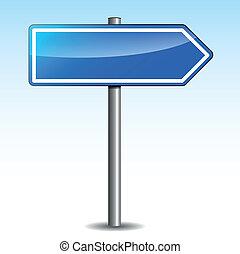 azul, poste indicador, vector, direccional