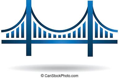 azul, puente, vector, logotipo