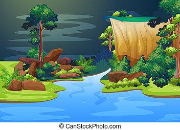 azul, río, bosque, profundo
