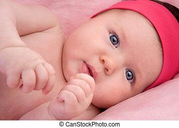 azul, recién nacido, ojos, adorable, bebé