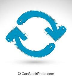azul, repetición, simple, multimedia, actualización, refrescar, aislado, plano de fondo, cepillo, mano, símbolo., dibujado, blanco, señal, navegación, dibujo, icon., entregue pintado