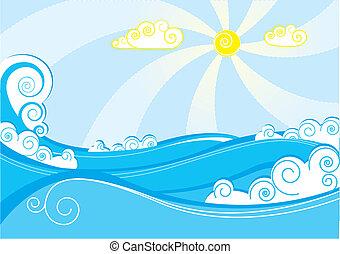azul, resumen, ilustración, vector, mar, blanco, waves.