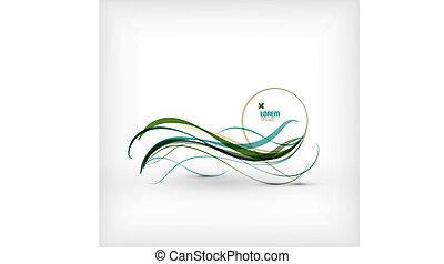 azul, resumen, líneas, onda, diseño, mínimo