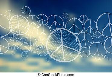 azul, símbolo, paz, cielo, fondo velado, encima