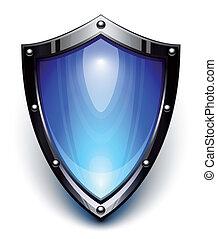 azul, seguridad, protector