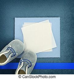 azul, shoes, plano de fondo, blanco, bebé, tarjeta