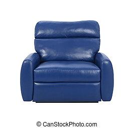 azul, sillón, lujo, aislado
