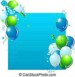 azul, tarjeta de cumpleaños