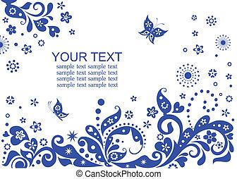 azul, tarjeta, visitar