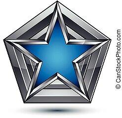 azul, tela, claro, utilizado, blazon, ser, estrella, heráldico, eps, plateado, arms., pentagonal, gráfico, lata, vector., chamarra, 8, símbolo, diseño, plata, 3d
