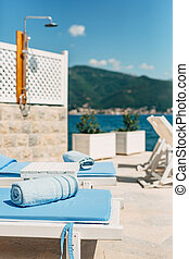 azul, toalla, sun loungers, playa, sea.