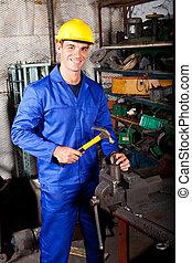 azul, trabajando, trabajador, taller, cuello, feliz