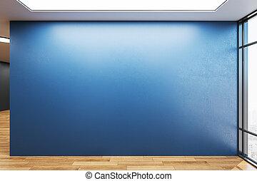 azul, vacío, wall., habitación, espacioso, blanco