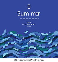 azul, verano, resumen, onda, plano de fondo, tiempo