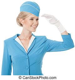 azul, vestido, uniforme, azafata, plano de fondo, blanco, simpático