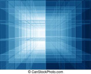 azul, virtual, espacio